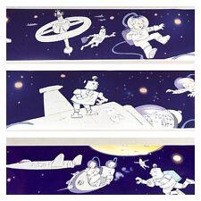 Wallpaper Border Space Atsronaut Robot Moon Theme 2 Roll Lot Brewster Blue Boys