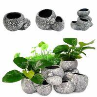 Aquarium Plant Bonsai Stone Pot Fish Tank Stone Cave Decoration Breeder Shelter