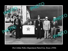 OLD POSTCARD SIZE PHOTO OF PORT ARTHUR TEXAS THE POLICE & PATROL CARS c1950