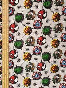 Marvel Avenger fabric UK 100% cotton material metres Thor Captain America circle