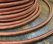 Copper Metal Covered Cord- Round 3wire Metal Braided Cable, Mesh Jack - Per Foot