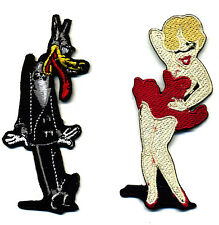Tex Avery patch badge set big bad wolf wolfy red hot pin up cartoon iron on