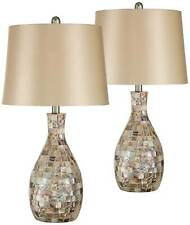 Coastal Table Lamps Set of 2 Mosaic Tile Gold Fabric...