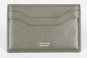 Tom Ford New Green Smooth 100% Calf Leather ID Credit Card Holder Made in Italy