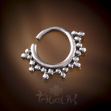Silver Tragus Sun Ray Septum Ring, Conch Jewelry Snug (code 12)