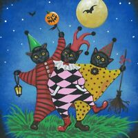 8X8 PRINT OF PAINTING HALLOWEEN RYTA BLACK CAT JOKER JESTER CLOWN FOLK ART BATS