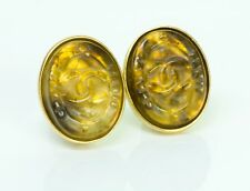 CHANEL CC Fall 1999 Gold Plated Maison Gripoix Yellow Glass Earrings