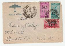 STORIA POSTALE 1948 TRIESTE P.A. 3 VALORI SU BUSTA DIRETTA IN USA TRIESTE Z/3729