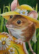 ACEO Limited Edition Print Art Mouse 3 Yellow Easter Bonnet Egg Spring J. Weiner