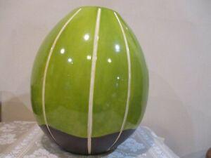 "Avocado Green/Brown Large Ribbed Ceramic Decorative Vase, 14"" Tall (1pc)"