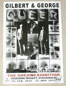 GILBERT AND GEORGE The Great Exhibition   SIGNED 2019 SWEDISH ART POSTER Queer