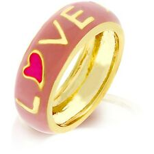 Gold Heart LOVE Ring Band Size 10 Pink Enamel Stackable Plated Eternity USA