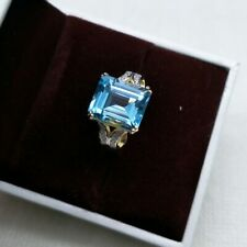 NATURAL GREAT BLUE TOPAZ RING IN STERLING SILVER, GOLD PLATED FINE JEWELRY