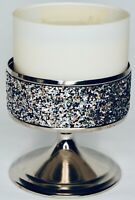 Bath & Body Works Silver Glittery 3 Wick Candle Sleeve Pedestal Holder