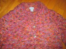 Ladies Sigrid Olsen SO Blue Pink Variegated Cardigan Sweater Size Medium