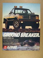 1989 Dodge Dakota 4X4 Pickup black truck photo vintage print Ad