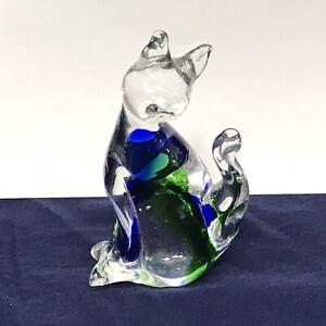 "Murano Venezia Blue & Green Blown Glass Cat Figurine  5.5"" tall Italy"