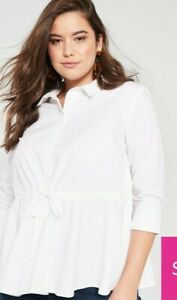 V by Very White Cotton Tie Waist Shirt Size 16 RRP £22.00