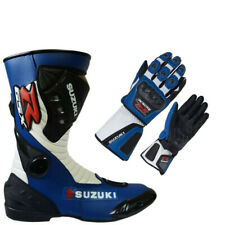 Suzuki GSXR Racing Motorcycle Shoe and Glove Racing Motorbike Off-Road Shoe