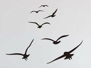 "NEW 24""x18"" Flock Of Seagulls Flying Birds Black Vinyl Wall / Car / Tile Decals"