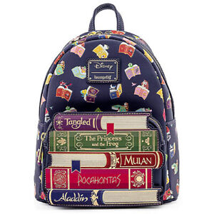 LOUNGEFLY X Disney Princess Books AOP Mini Backpack SALE