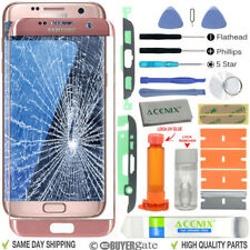 Samsung Galaxy S7 Edge Replacement Screen Front lens Repair Kit PINK GOLD UK