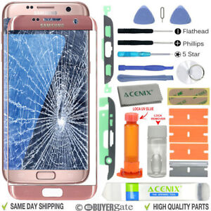 Samsung Galaxy S7 Edge Replacement Screen Front lens Repair Kit PINK GOLD UK