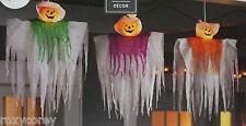 Halloween 3 Piece Lighted Hanging Pumpkins 12 Clear Mini Lights Black Wire NIB