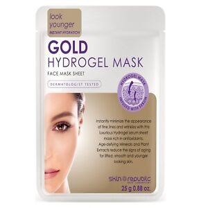 Skin Republic 25g Gold Hydrogel Sheet Face Mask Reduces Fine Lines & Wrinkles
