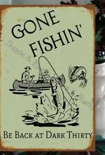 Vintage Wooden Sign Decopouged Gone Fishin' Be Back at Dark Thirty Fishing Sign