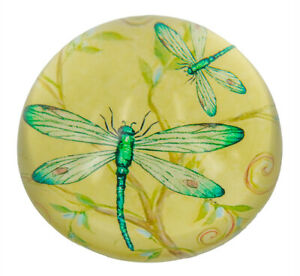 Yellow Dragonfly Crystal Paperweight - 8cms dia. x 4cms high. - AU Seller