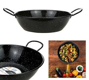 Enamel Karai Wok Heavy Duty Frying Kadhai Kadai Karahi Dish Pan Black Original