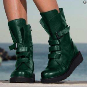Womens Round Toe Zip Mid Calf Boots Retro Buckle Strap Low Heels Combat Shoes