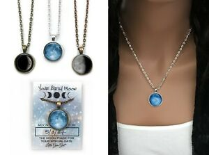Your Custom Birth Moon Necklace Personalized Birthday Lunar Phase Charm Jewelry