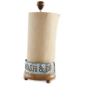 Mud Pie Bistro Wood and Aluminum Paper Towel Holder