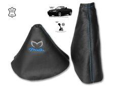 Gear & Handbrake Gaiter For Mazda MX5 MK3 2 Panels Leather Logo Blue