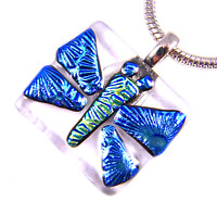 """DICHROIC Fused Glass Silver Butterfly PENDANT Blue Green Patterned 1.25"""" 30mm"""