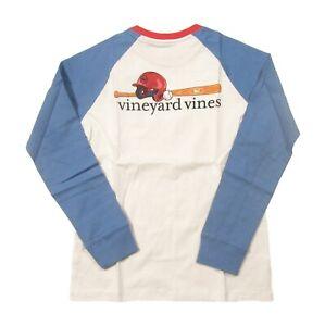 Vineyard Vines Boys White Raglan Baseball Graphic Long Sleeve Pocket T-Shirt