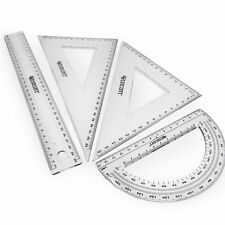 Westcott Large Transparent Geometry Set - Square Set, 30cm Ruler, Protractor
