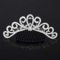 Crystal Rhinestone Wedding Headband Tiara Comb Hair Crown Bridal Pageant Prom