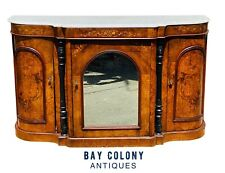 19TH C ANTIQUE VICTORIAN INLAID BURL WALNUT MARBLE TOP CONSOLE TABLE / SIDEBOARD