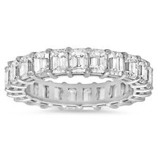 18K White Gold 4.36 TCW Emerald Cut Diamond Eternity Ring Anniversary Band F VS1