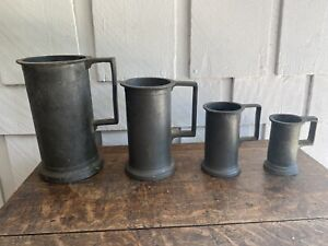 Four Antique Pewter Graduated Measures Tankards with Touchmarks 19th Century