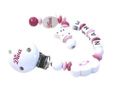 Schnullerkette mit Namen Diva Wolke Stern Mädchen personalisiert weiss pink rosa