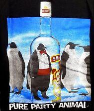Vintage 90s Pure Party Animal Penguin Smirnoff Vodka Graphic T-Shirt XL
