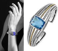 SALE!!! $1,990 Lagos Silver 18K Swiss Blue Topaz Cuff Bracelet Bangle Women Lady