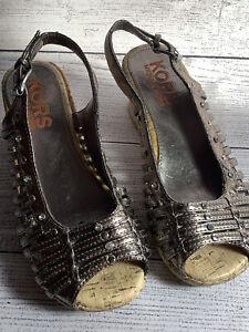 Michael Kors girls sandals wedge size 2 metallic