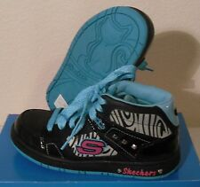 NIB Skechers Sugarcanes Shimmies Youth Girls Shoes Sneakers Black/Turquoise $55