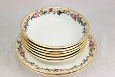 LOT ANTIQUE AHRENFELDT LIMOGES  CHINA> 6 BOWLS, 2 PLATES WHITE BLUE GOLD FLORAL