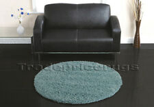 LARGE THICK ROUND CIRCLE DUCK EGG TEAL BLUE SHAGGY RUG